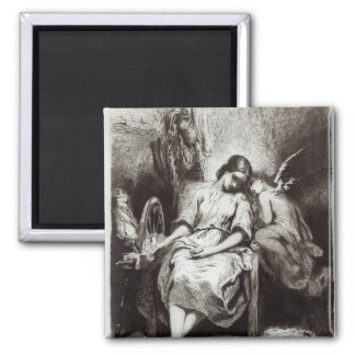 A Young Woman Dozing with an Angel 2 Inch Square Magnet