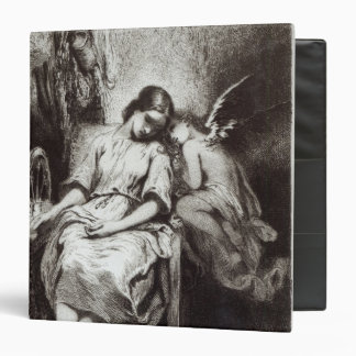 A Young Woman Dozing with an Angel 3 Ring Binder
