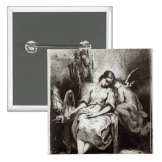 A Young Woman Dozing with an Angel Pinback Button