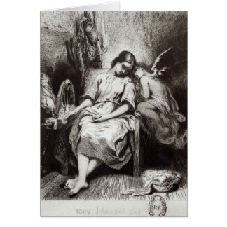 A Young Woman Dozing with an Angel Card