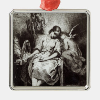 A Young Woman Dozing with an Angel Metal Ornament