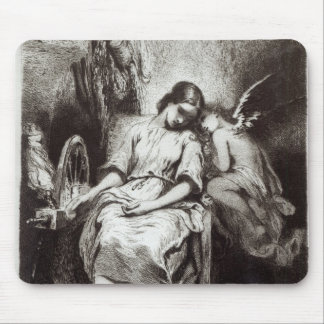 A Young Woman Dozing with an Angel Mouse Pad