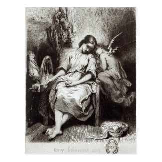 A Young Woman Dozing with an Angel Postcard
