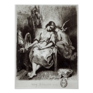 A Young Woman Dozing with an Angel Poster