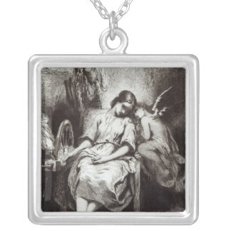 A Young Woman Dozing with an Angel Silver Plated Necklace