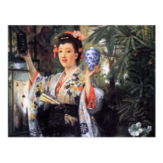 A young woman holds Japanese goods by James Tissot Postcard