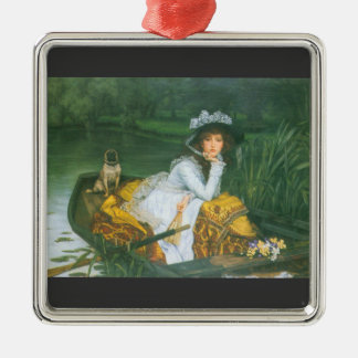 A young woman in a boat by James Tissot Metal Ornament
