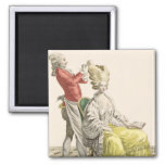 A Young Woman in a Peignoir with her Hairdresser, 2 Inch Square Magnet