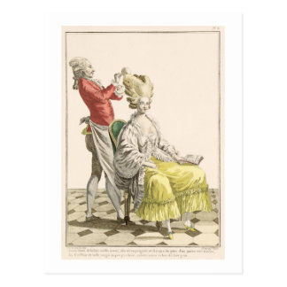 A Young Woman in a Peignoir with her Hairdresser, Postcard
