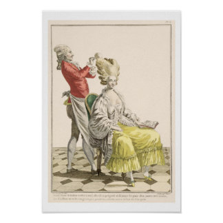 A Young Woman in a Peignoir with her Hairdresser, Poster