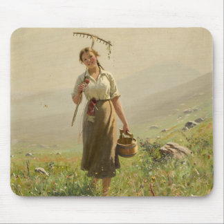 A young woman in the meadow by Hans Dahl Mouse Pad