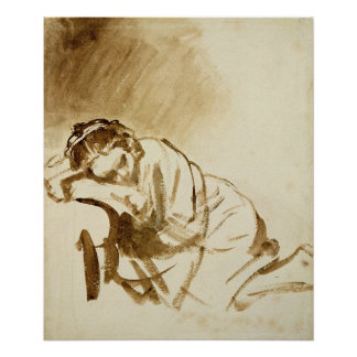 A Young Woman Sleeping  c.1654 Poster