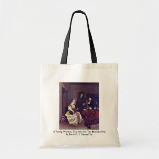 A Young Woman, Two Men On The Theorbo Play Bags