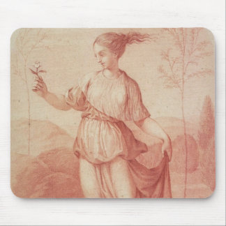 A Young Woman walking bare-footed in a Landscape Mouse Pad