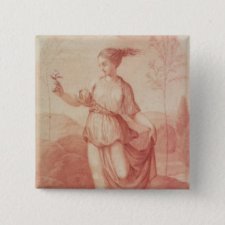 A Young Woman walking bare-footed in a Landscape Pinback Button