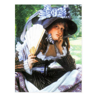 A young woman with a fan by James Tissot Postcard