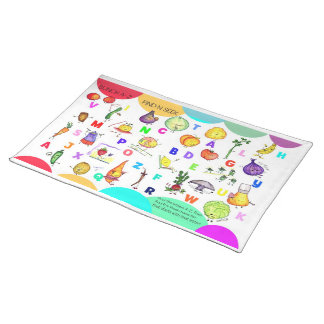 A-Z Fruit and Veggie Kids Placemat Cloth Place Mat