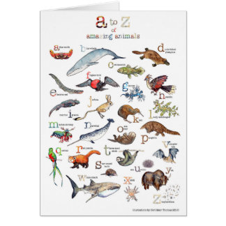 A-Z of amazing animals Card