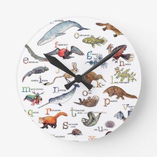 A-Z of amazing animals Round Clock