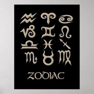A Zodiac Symbol Chart Poster
