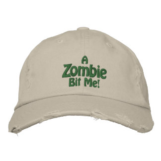 A Zombie Bit Me! Distressed Stone Hat Embroidered Baseball Cap