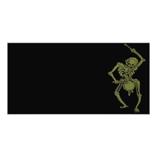 A Zombie Undead Skeleton Marching and Beating A Dr Card