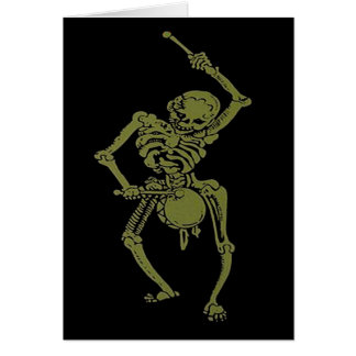 A Zombie Undead Skeleton Marching and Beating A Dr Greeting Card