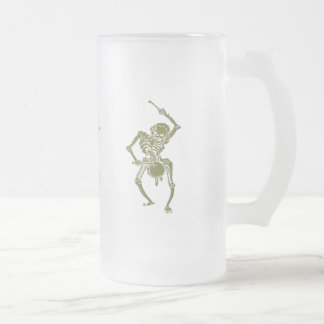 A Zombie Undead Skeleton Marching and Beating A Dr Frosted Glass Beer Mug