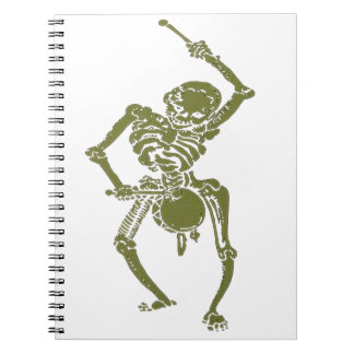 A Zombie Undead Skeleton Marching and Beating A Dr Notebook