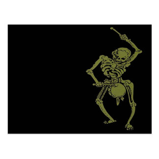 A Zombie Undead Skeleton Marching and Beating A Dr Postcard