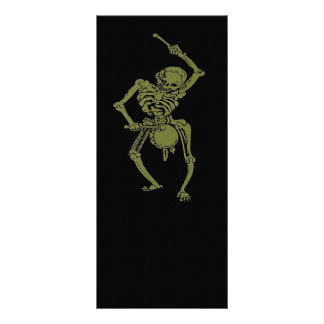 A Zombie Undead Skeleton Marching and Beating A Dr Rack Card