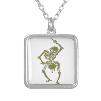 A Zombie Undead Skeleton Marching and Beating A Dr Silver Plated Necklace