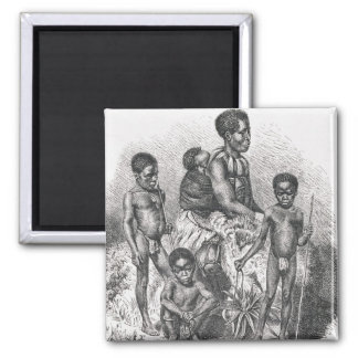 A Zulu family from The History of Mankind 2 Inch Square Magnet