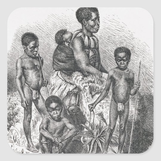 A Zulu family from The History of Mankind Square Sticker