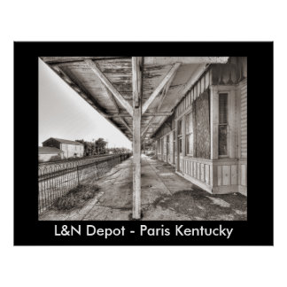 AA128P.L&N Train Station - Paris Ky., L&N Depot... Poster