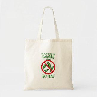 """AA 12 Steps """"No Peas"""" Tote Bag"""