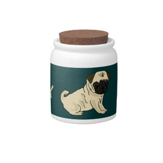 AA- Awesome Pug Puppy Dog Treats Jar Candy Jar