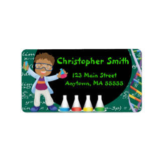 AA Boy Mad Scientist Party Address Labels