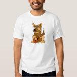 AA- German Shepherd Puppy Playing Guitar Cartoon T-shirt