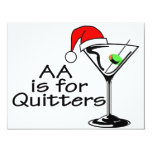 "AA Is For Quitters Christmas Martini 4.25"" X 5.5"" Invitation Card"