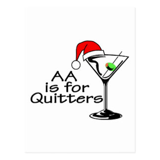 AA Is For Quitters Christmas Martini Postcard