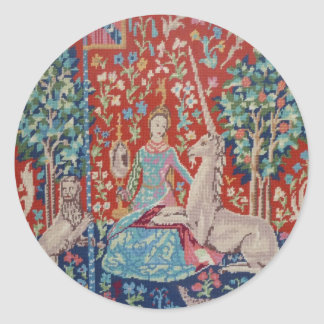 AA- Lady and the Unicorn Tapestry Art Design Plate Classic Round Sticker