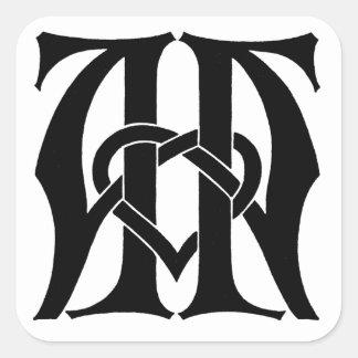AA Monogram Square Sticker