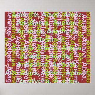 AAA ALPHAART ALPHAA Soup Names Whimsical Art Poster