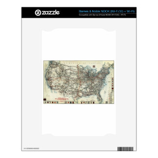 AAA Map of transcontinental routes 1918 Skins For NOOK