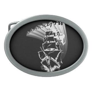 AAAARGH! It be a Pirate Ship! Oval Belt Buckle