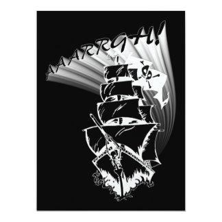 """¡AAAARGH! ¡Sea un barco pirata! Invitación 6.5"""" X 8.75"""""""
