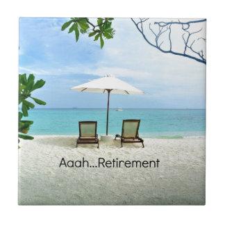Aaah...retirement, relaxing beach scene ceramic tile