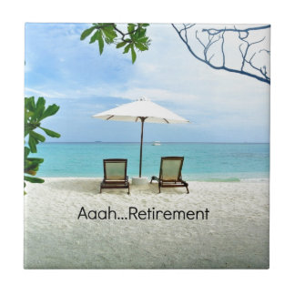 Aaah...retirement, relaxing beach scene small square tile