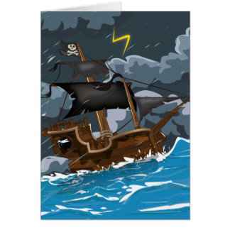 AAAR! Old Pirate Ship in Storm Stationery Note Card